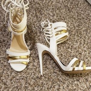 "White 4"" gladiator open toe heels"